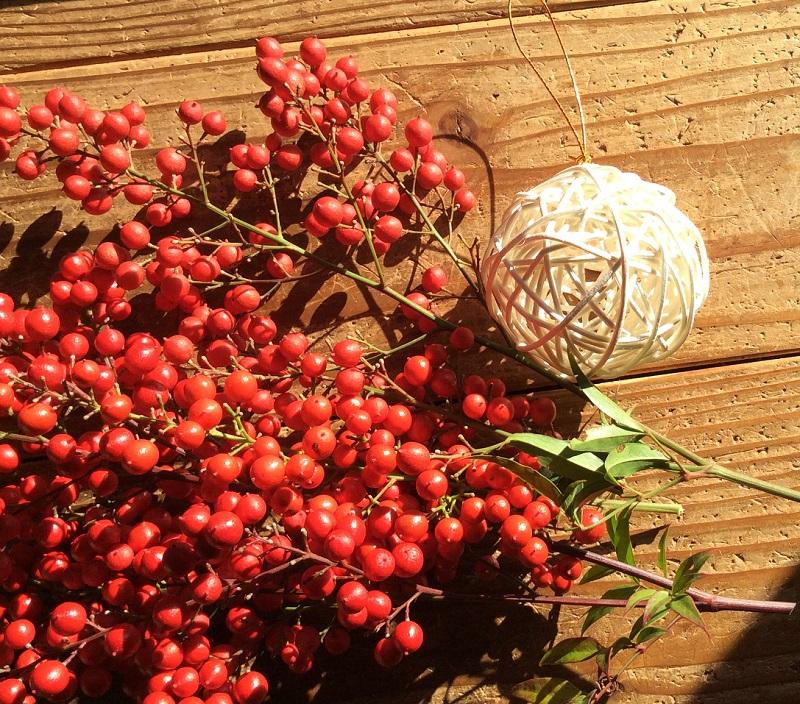 お正月に赤い実を飾る