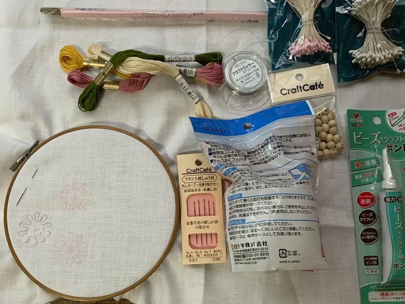 立体刺繍の材料
