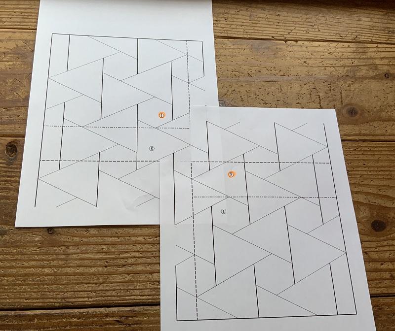 刺し子の結び亀甲図案の貼り合わせ