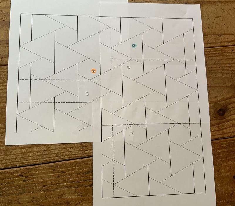 結び亀甲の図案の並べ方